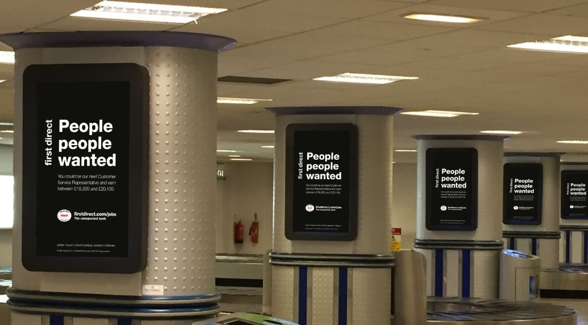 First Direct poster at Leeds Bradford Airport