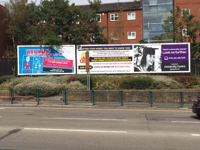 Billboards at Stockwell Gate Mansfield